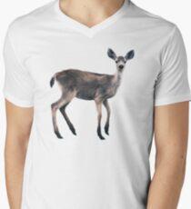 Deer on Slate Blue V-Neck T-Shirt