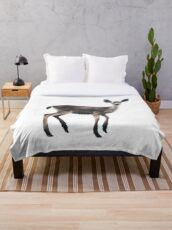 Deer on Slate Blue Throw Blanket