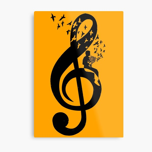 Treble Clef - French Horn Metal Print