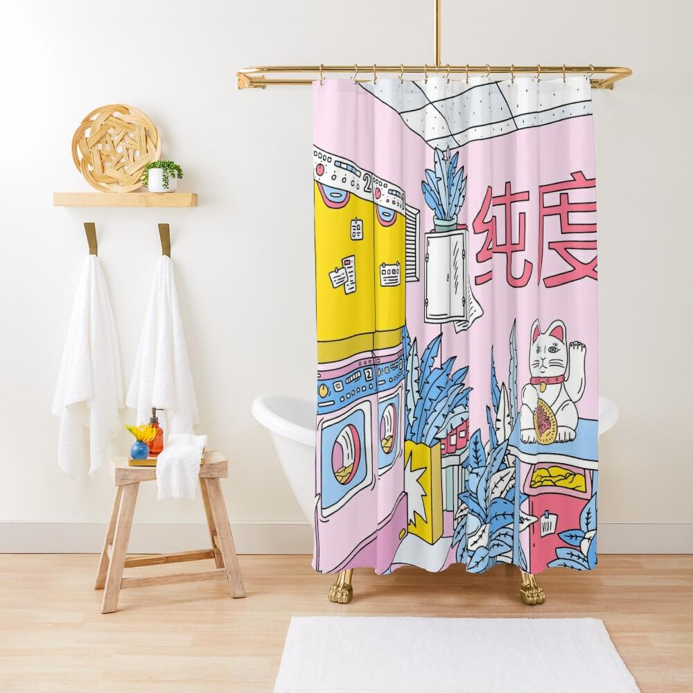 MANEKI WASH BLUE Shower Curtain