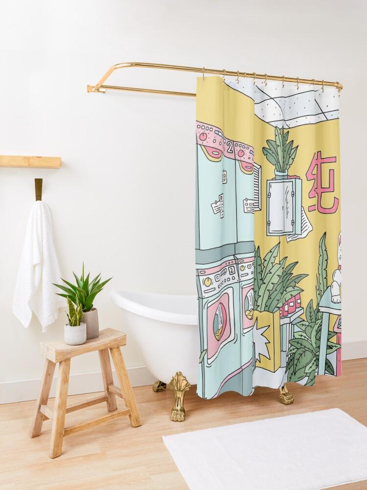 Alternate view of MANEKI WASH GREEN Shower Curtain