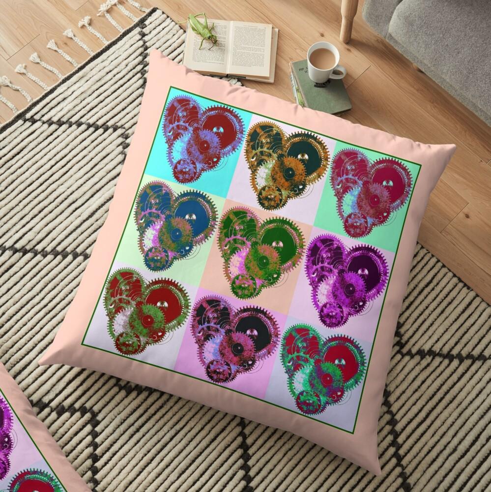Steampunk 'Pop-Heart' Pop Art Floor Pillow