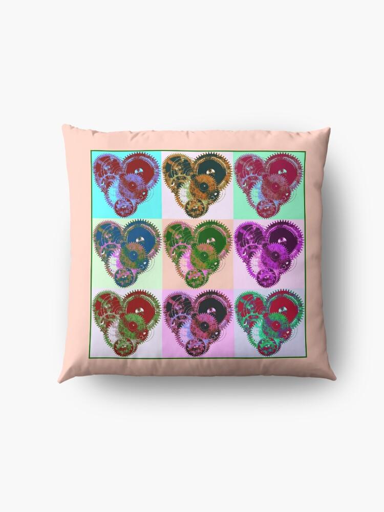 Alternate view of Steampunk 'Pop-Heart' Pop Art Floor Pillow