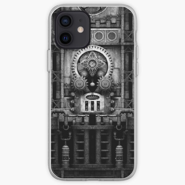 Infernal Steampunk Vintage Machine #3 Monochrome iPhone Soft Case