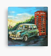 Mini Cooper with red telephone box Canvas Print