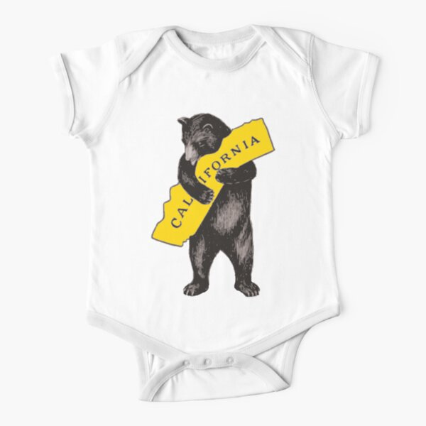 Vintage California Bear Hug Illustration Short Sleeve Baby One-Piece