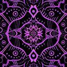 Purple Black Damask Mandala Arabesque Bohemian Pattern by clipsocallipso