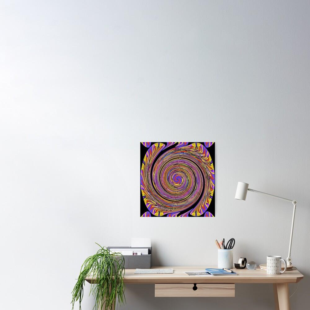 #Abstract, #twist, #vortex, #pattern, art, twirl, psychedelic, design, creativity, spiral, illustration, wave Poster