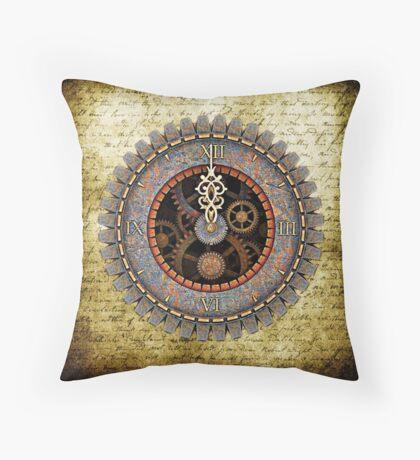 Infernal Steampunk Vintage Clock Face No.2 Throw Pillow