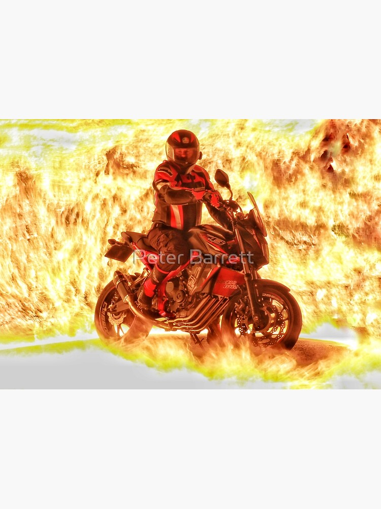 Motorbike and rider on flames by hartrockets