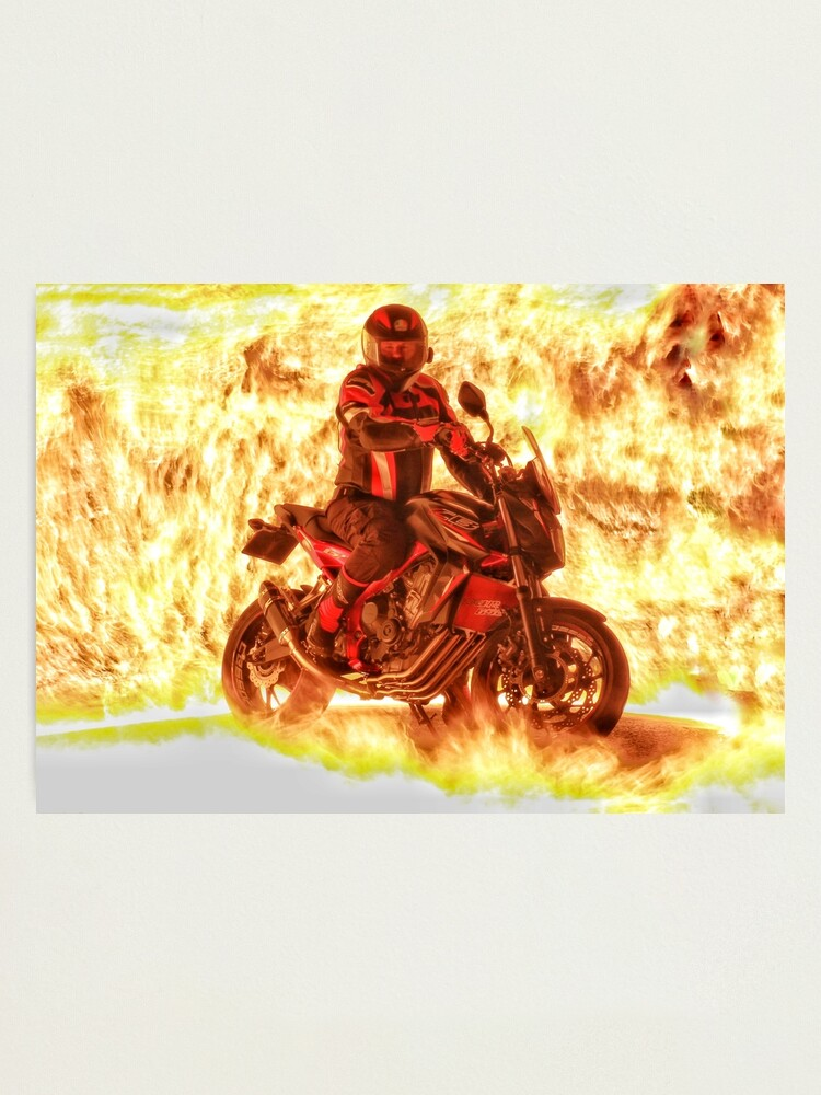 Alternate view of Motorbike and rider on flames Photographic Print