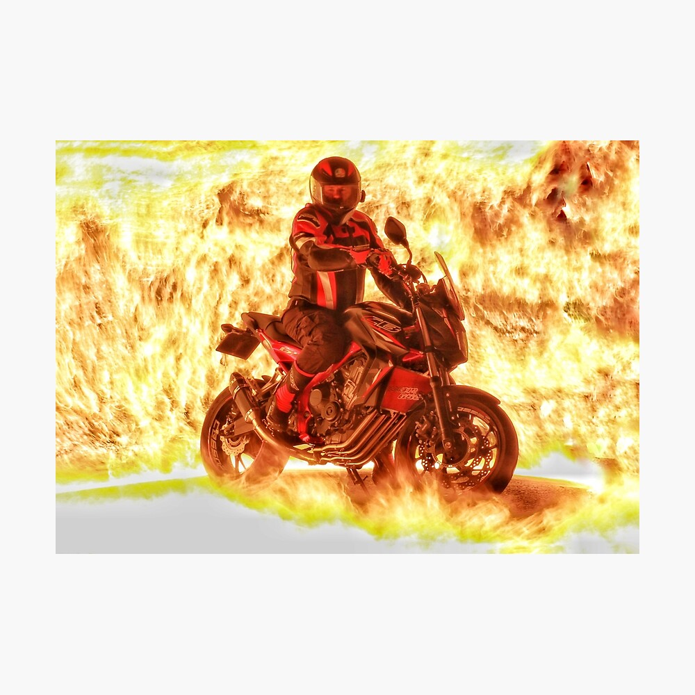 Motorbike and rider on flames Photographic Print