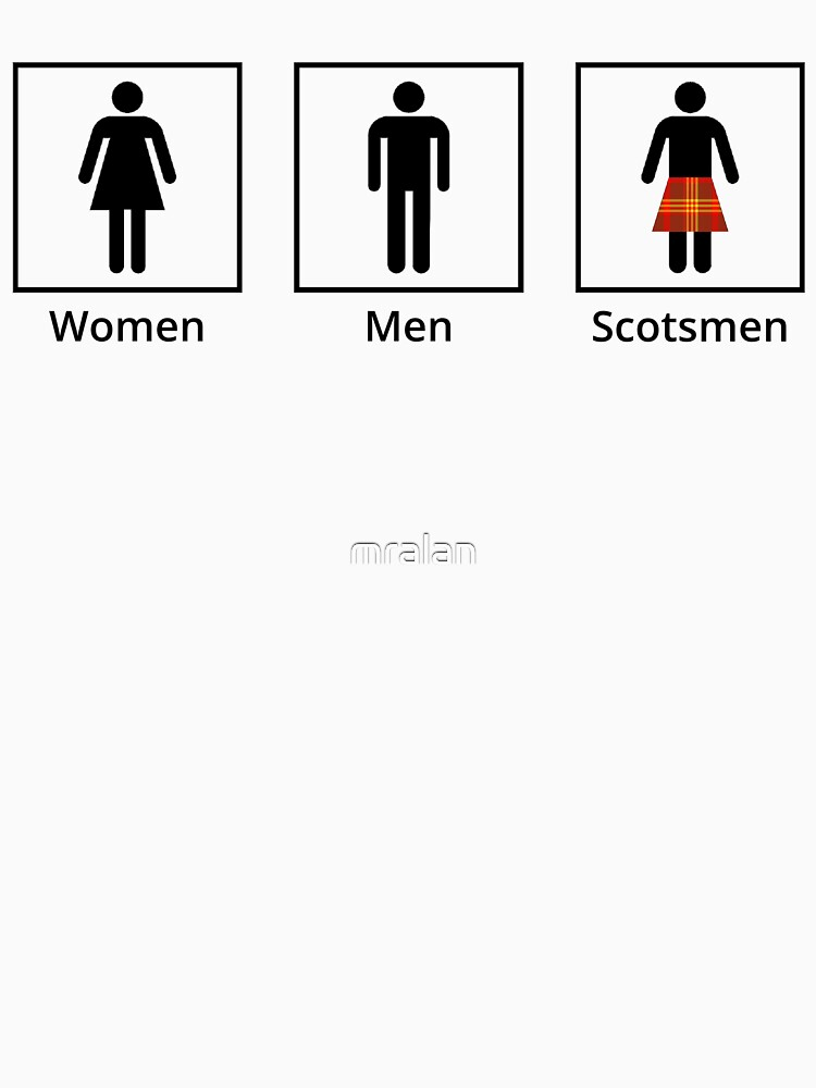 "Kilt Bathroom Sign women, men, scotsmen humorous toilet signs"" t-shirts & hoodies"