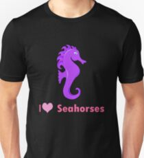 Cute i love heart sehorses in purple and pink geek funny nerd Unisex T-Shirt