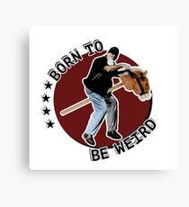 Hilarious biker playing on a stick horse  Canvas Print