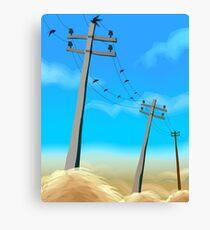 Electric post in a rural scene Canvas Print