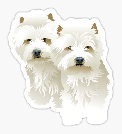 westies (mother and daughter) Sticker