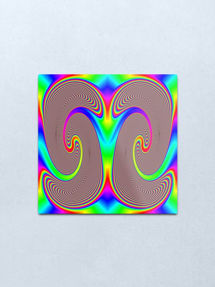 Alternate view of #Creativity, #abstract, #psychedelic, #illustration, decoration, design, art, proportion, rainbow, shape, funky, vortex, color image Metal Print