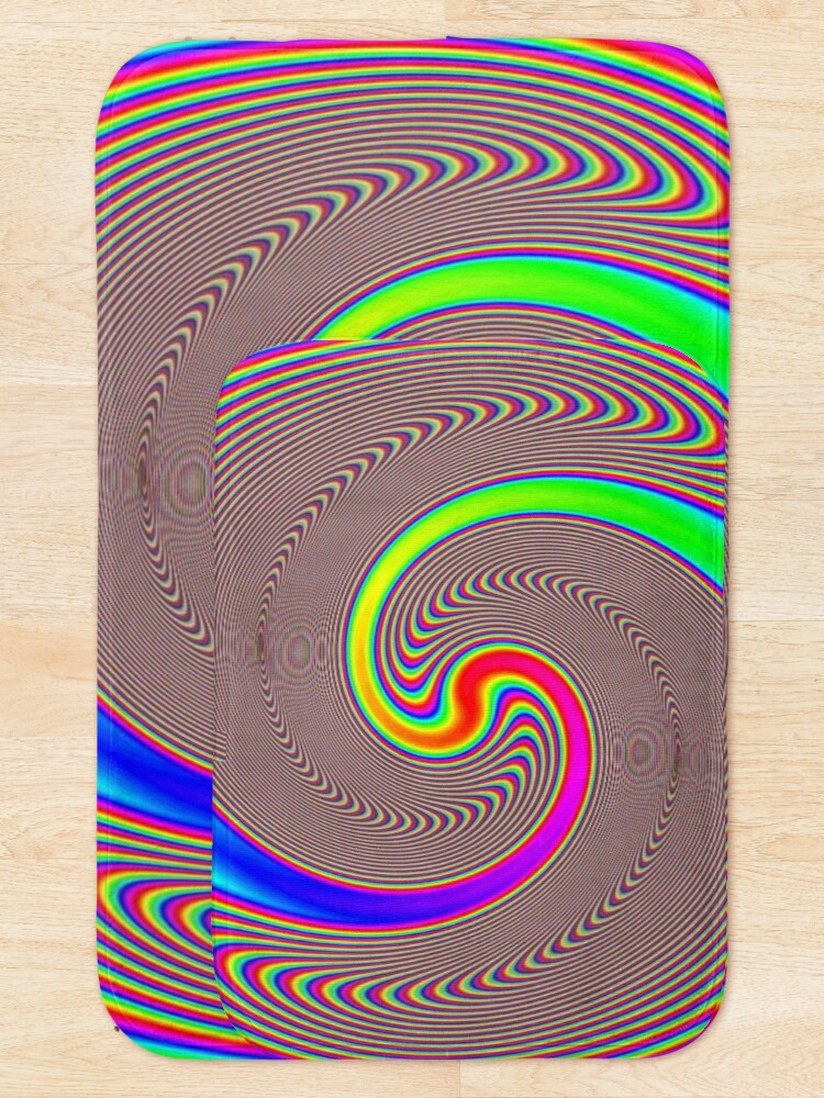 Alternate view of #Creativity, #abstract, #psychedelic, #illustration, decoration, design, art, proportion, rainbow, shape, funky, vortex, color image Bath Mat