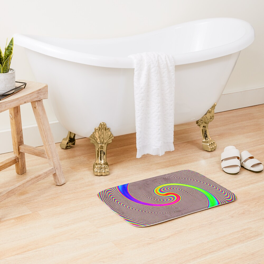 #Creativity, #abstract, #psychedelic, #illustration, decoration, design, art, proportion, rainbow, shape, funky, vortex, color image Bath Mat