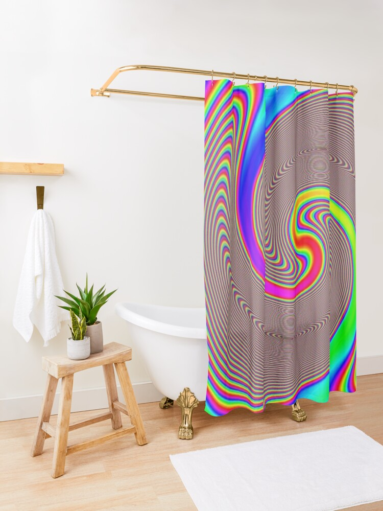 Alternate view of #Creativity, #abstract, #psychedelic, #illustration, decoration, design, art, proportion, rainbow, shape, funky, vortex, color image Shower Curtain