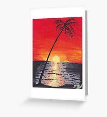 Beach Sunset Acrylic Painting Greeting Card