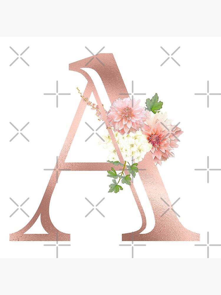 Letter A Rose Gold Flower Monogram Art Board Print By Colorflowart Redbubble