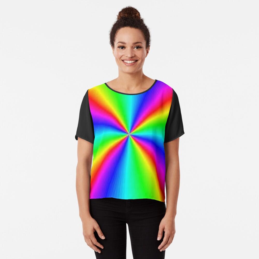 #Prism, #creativity, #bright, #rainbow, spectrum, psychedelic, futuristic, art, vortex, color image Chiffon Top