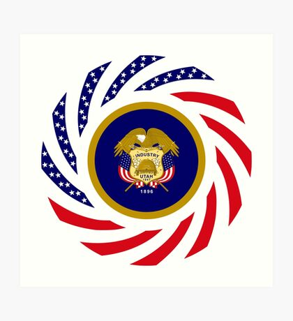 Utah Murican Patriot Flag Series Art Print
