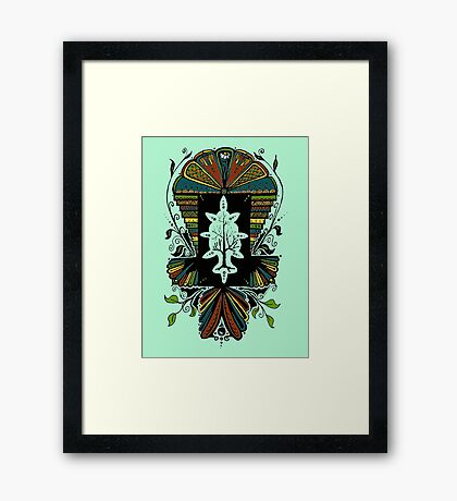 I've travelled the Earth, the only truth I've found: The lake invented the mirror and the sun works underground Framed Print