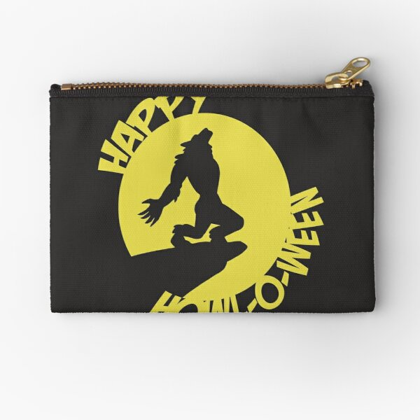 Happy Howl-o-ween wolfman yellow Zipper Pouch