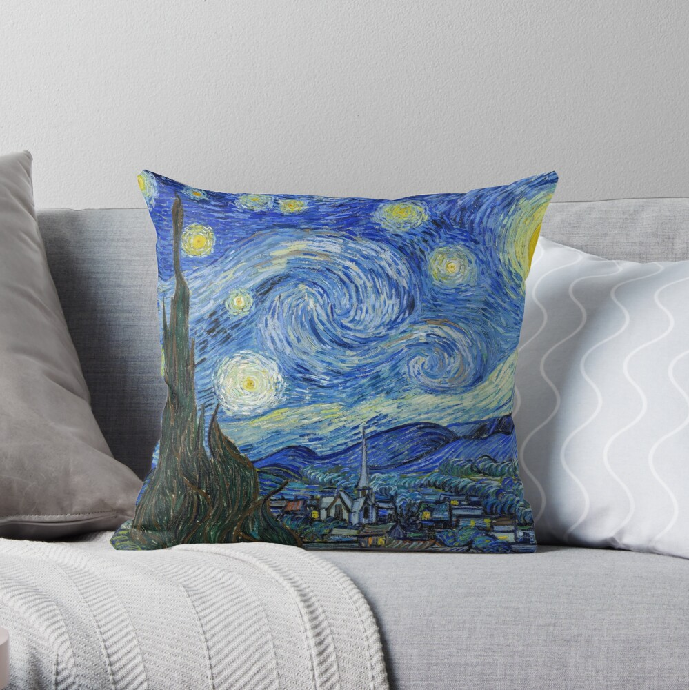 The Starry Night, Vincent van Gogh, 1889   Ultra High Resolution Throw Pillow