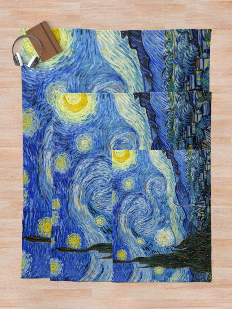 Alternate view of The Starry Night, Vincent van Gogh, 1889 | Ultra High Resolution Throw Blanket