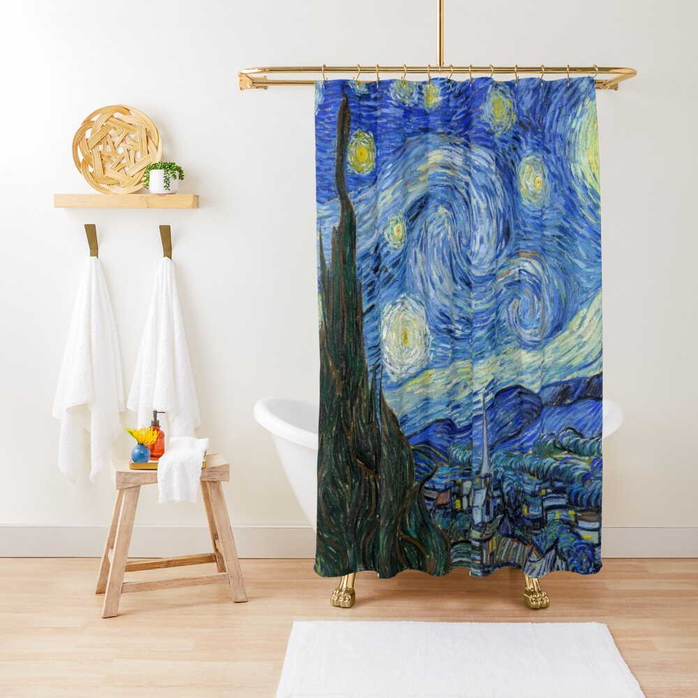 The Starry Night, Vincent van Gogh, 1889 | Ultra High Resolution Shower Curtain