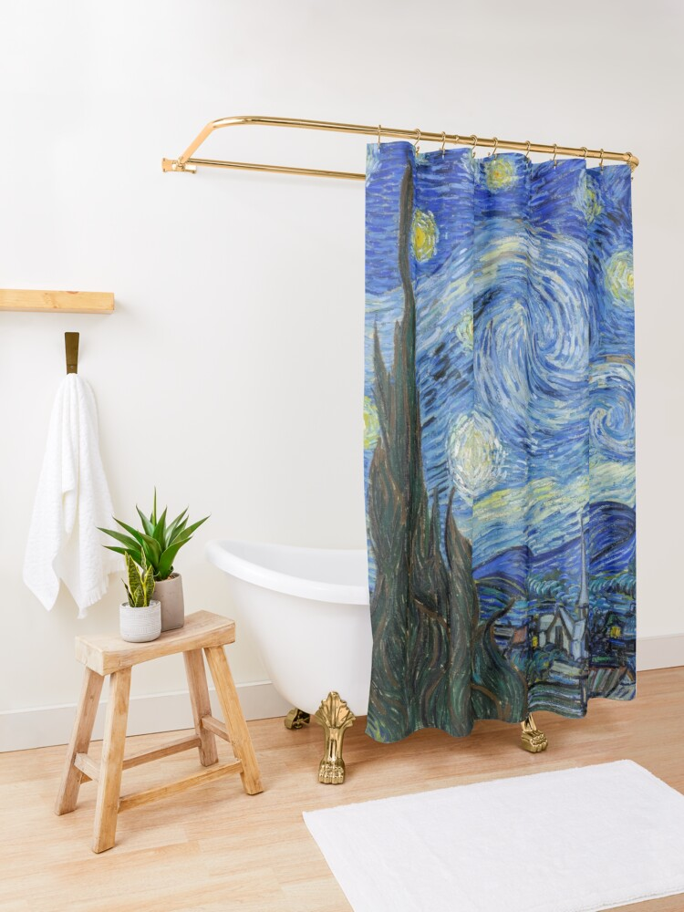 Alternate view of The Starry Night, Vincent van Gogh, 1889 | Ultra High Resolution Shower Curtain