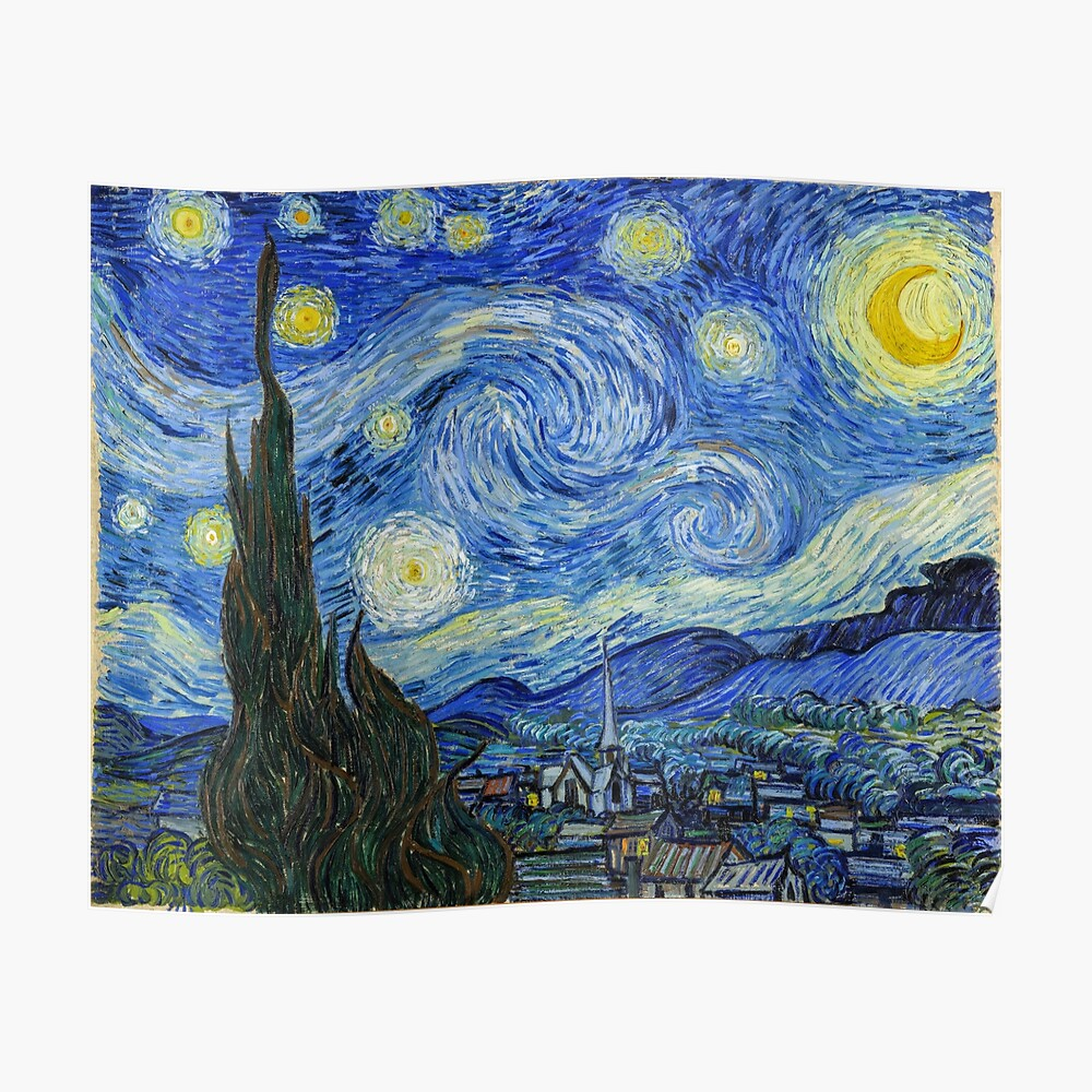 The Starry Night, Vincent van Gogh, 1889 | Ultra High Resolution Poster
