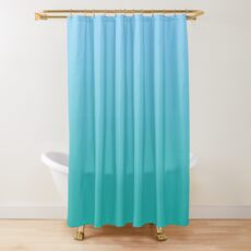Simple Sky Blue and Sea Green Modern Gradient Shower Curtain