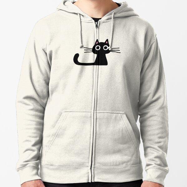 Cutie Kitty Cat Wide Eyed Black Kitten Zipped Hoodie