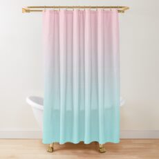 Pink to Pale Turquoise Modern Gradient Shower Curtain
