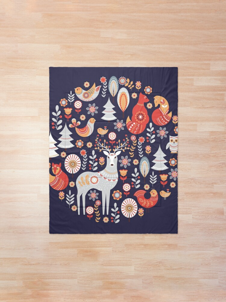 Alternate view of Fairy-tale forest. Foxes, deer, birds, owls,  flowers and herbs on a blue background.  Comforter