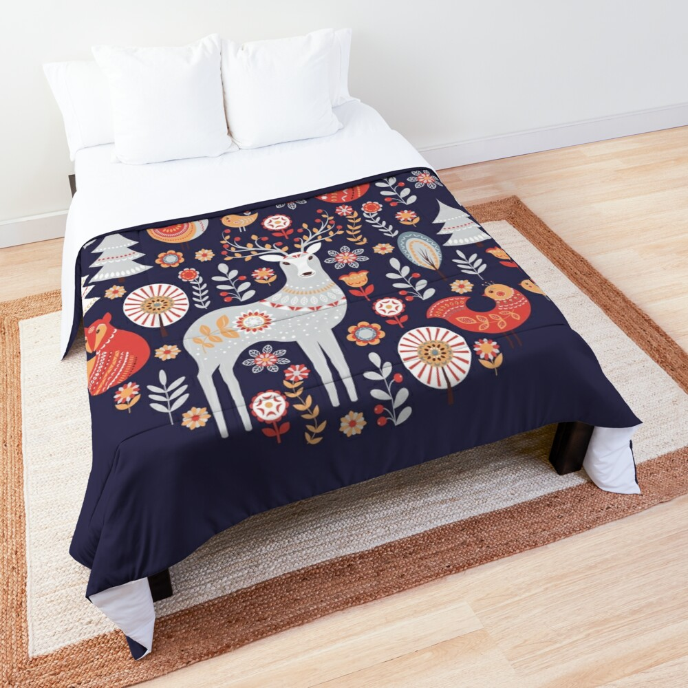 Fairy-tale forest. Foxes, deer, birds, owls,  flowers and herbs on a blue background.  Comforter