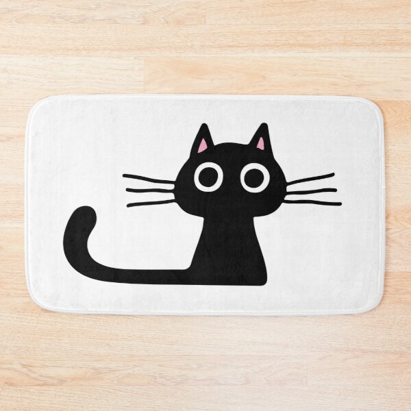 Cutie Kitty Cat Wide Eyed Black Kitten Bath Mat
