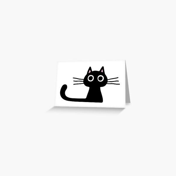 Cutie Kitty Cat Wide Eyed Black Kitten Greeting Card