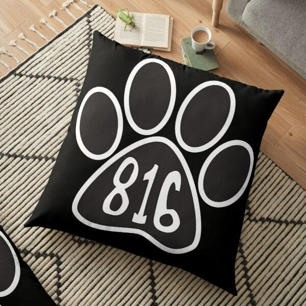 Hand Drawn Paw Missouri State 816 Area Code  Floor Pillow