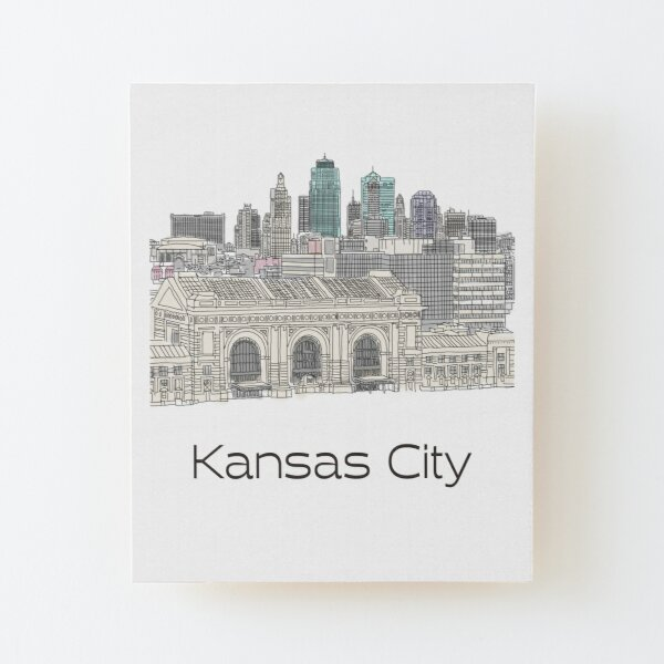 Hand Drawn Kansas City Skyline Wood Mounted Print