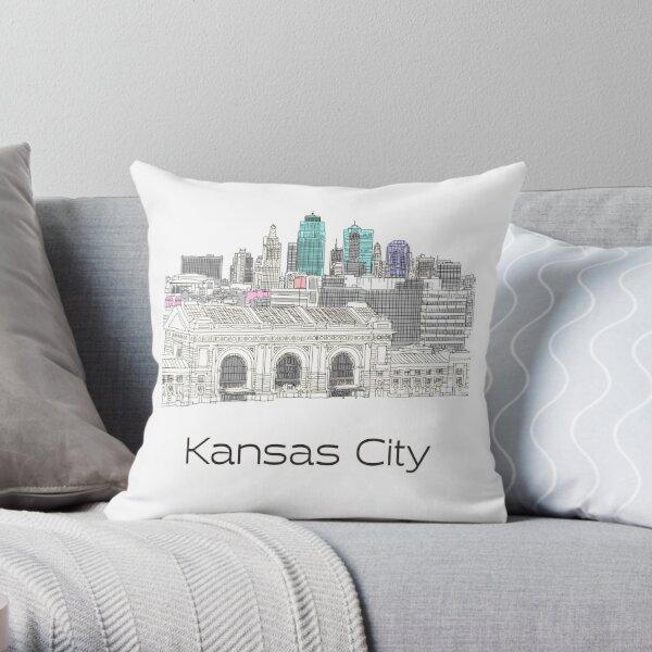 Hand Drawn Kansas City Skyline Throw Pillow