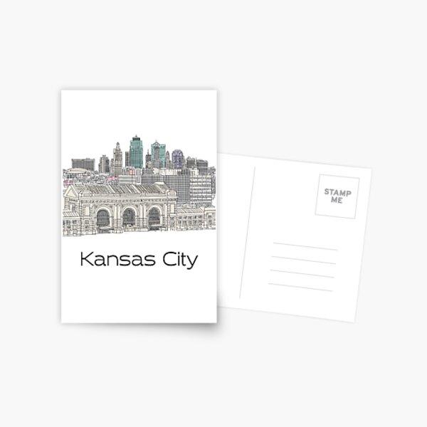 Hand Drawn Kansas City Skyline Postcard