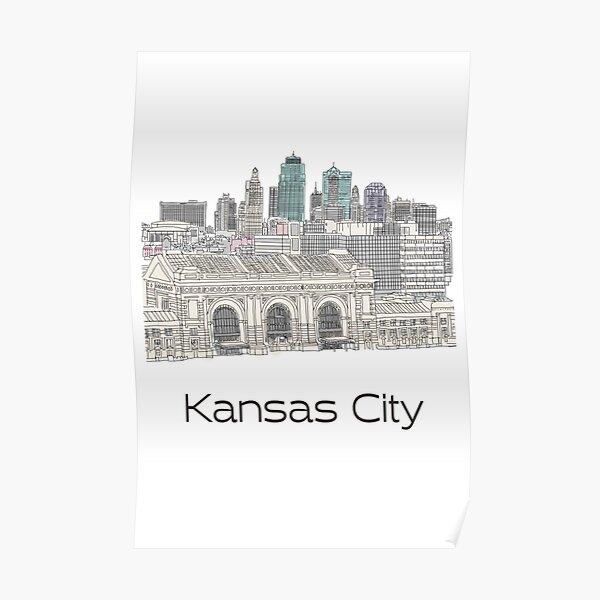 Hand Drawn Kansas City Skyline Poster
