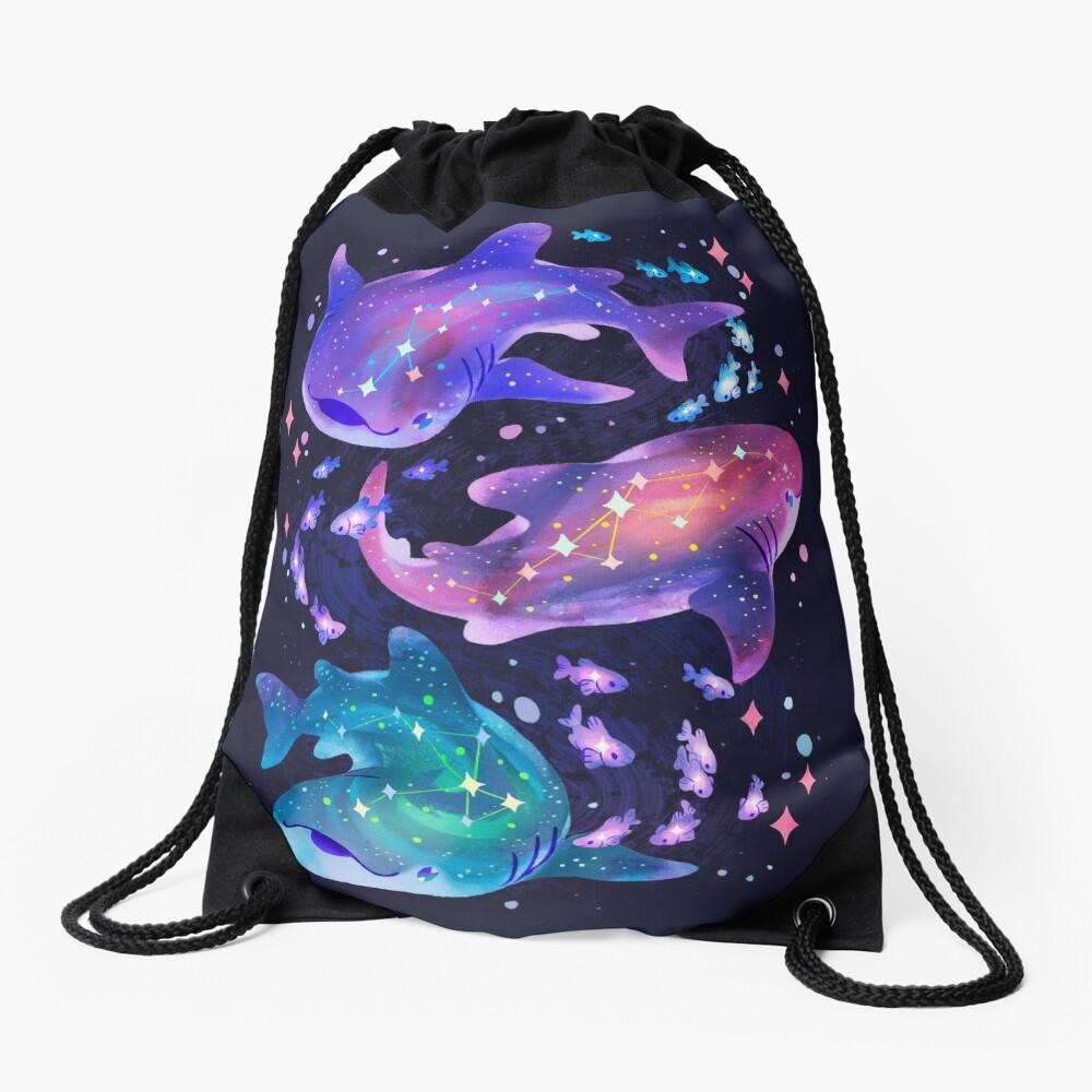 Cosmic Whale Shark Drawstring Bag