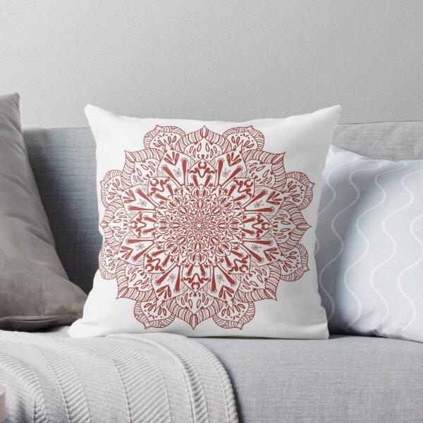 Cactus Mandala Red Terracotta Version Throw Pillow
